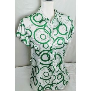 Dress Barn green and white top size medium